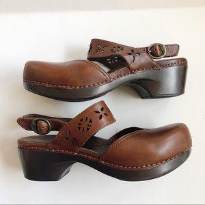 Dansko Mary Jane Clogs Brown Leather 8